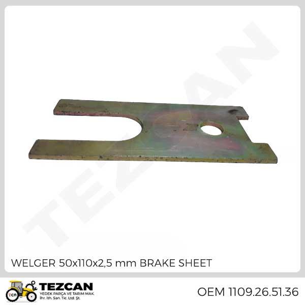 WELGER 50x110x2,5 mm BRAKE SHEET