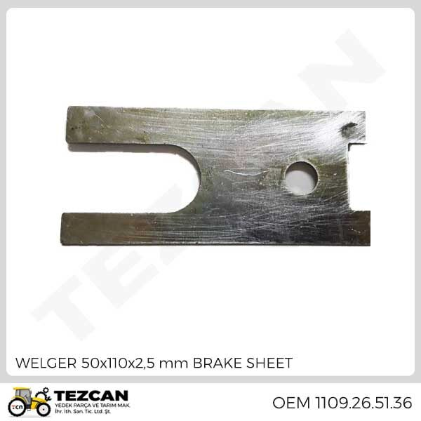 WELGER 50x110x2,5 mm BRAKE SHEET