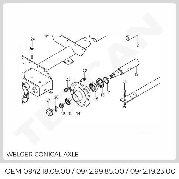 WELGER CONICAL AXLE